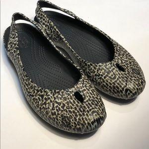Crocs Olivia Sling backs Animal Print Size 9 EUC